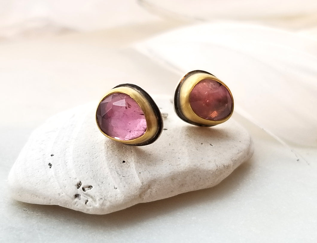 Ananda Khalsa Peachy Pink Tourmaline Stud Earrings