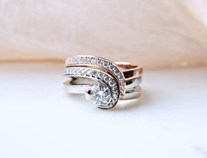 Classic Inspired Diamond Wedding Set With A Complimenting Gent's Band