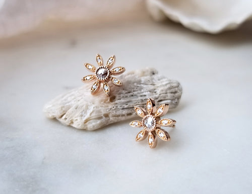 Modern Vintage Concept Rose Gold Flower Stud Earrings