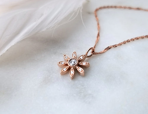 Modern Vintage Concept Rose Gold Diamond Flower Pendant
