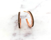 Load image into Gallery viewer, Classic Concept Mini Brown Diamond Hoops