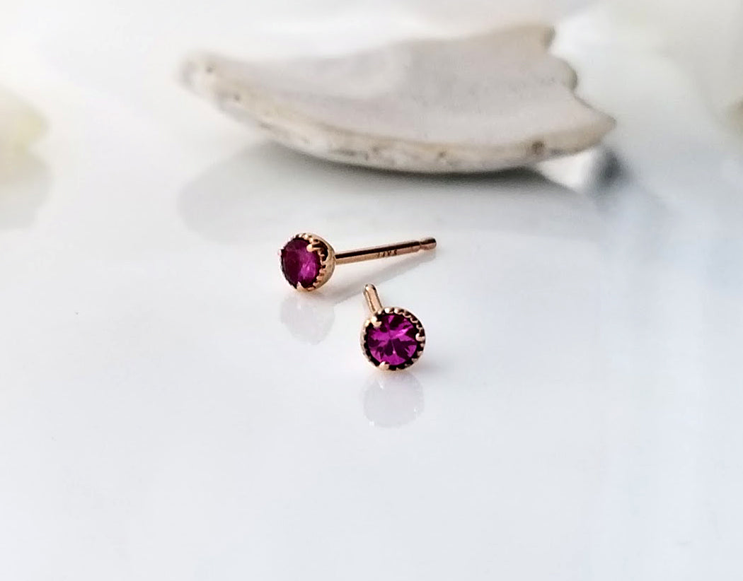 Modern Vintage Concept Mini Pink Sapphire Stud Earrings
