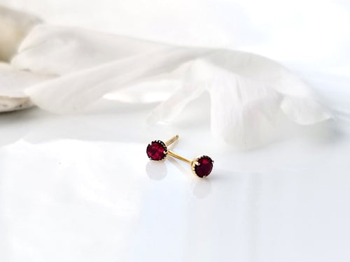 Modern Vintage Concept Mini Ruby Stud Earrings