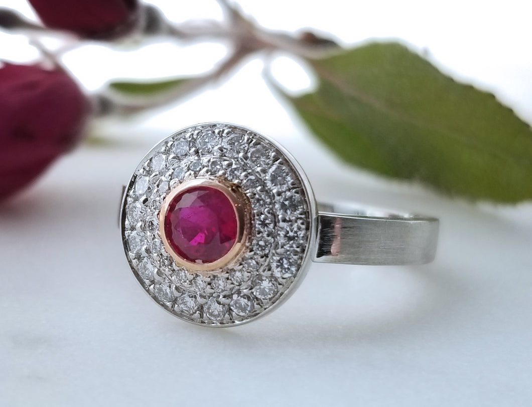 Contemporary Concept Two Tone Ruby Ring