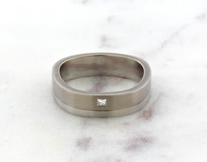 Gents Concept 6mm White Gold and Platinum Diamond Band