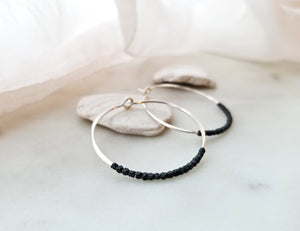 Fail Jewelry Sterling Silver And Oxidized Silver Medium Beaded Hoop Earrings