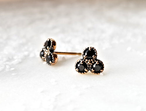 Modern Vintage Concept Mini Trio Black Diamond Earrings