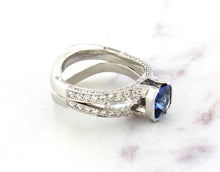 Load image into Gallery viewer, Contemporary Concept Radiant Cut Blue Sapphire Ring