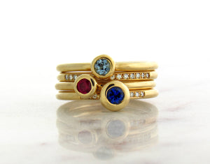 Family Concept Blue Sapphire Ring
