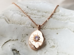 Sirciam 14K Rose Gold Moonstone Star Plate Necklace