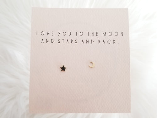 Mai Lin Moon And Stars Stud Earrings