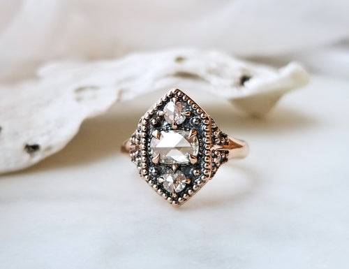 Modern Vintage Concept Beaded Rose Cut Diamond Trio Ring