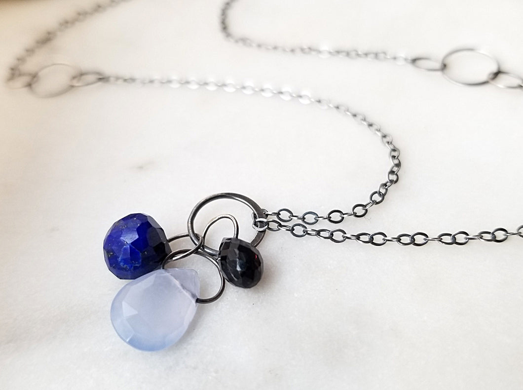 Melissa Joy Manning Iolite, Lapis And Blue Chalcedony Drop Pendant