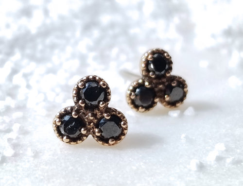 Modern Vintage Concept Large Black Diamond Trio Stud Earrings