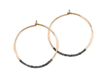 Load image into Gallery viewer, Fail Jewelry 14K Yellow Gold Filled & Oxidized Silver Beaded Medium Hoop Earrings