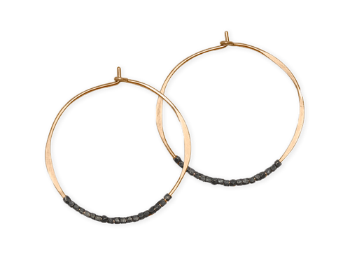 Fail Jewelry 14K Yellow Gold Filled And Oxidized Silver Beaded Medium Hoop Earrings