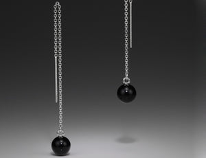 Andrea Blais Sterling Silver Thread Onyx Earrings