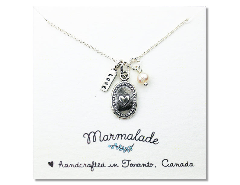 Marmalade Designs Silver Oval Heart Charm Necklace