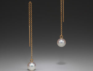 Andrea Blais 14K Rose Gold Thread Pearl Earrings