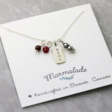 Load image into Gallery viewer, Marmalade Designs Mama & 2 Peas Necklace With Gemstones