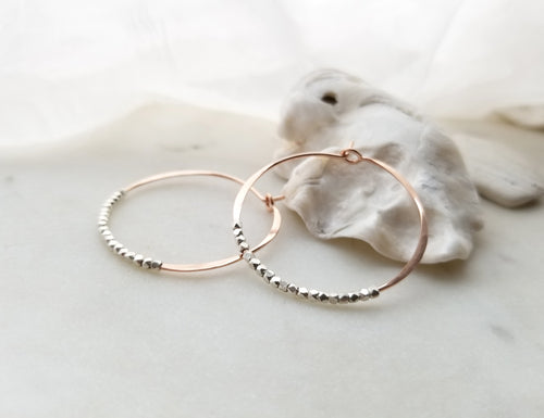 Fail Jewelry 14k Rose Gold Filled Medium Round Beaded Hoop Earrings