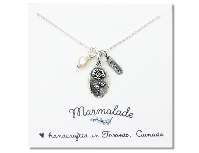Marmalade Designs Rose & Love Charm Necklace
