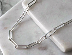Strut Jewelry Silver Flat Link Connection Chain Necklace