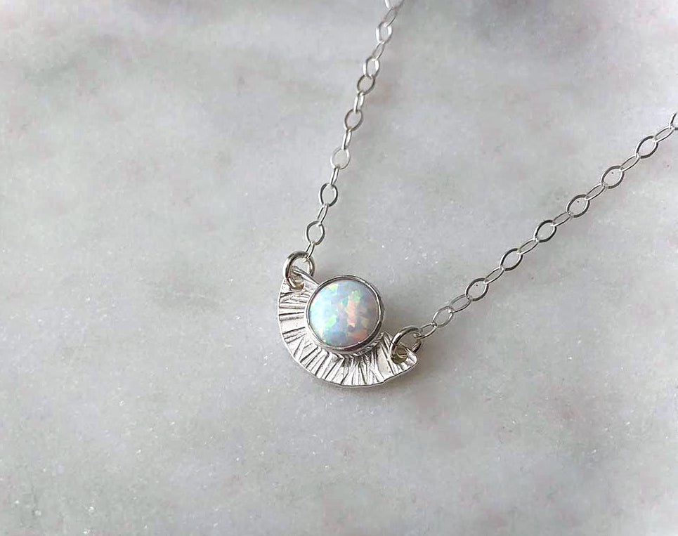 Strut Jewelry Sterling Silver Opal Sunburst Necklace