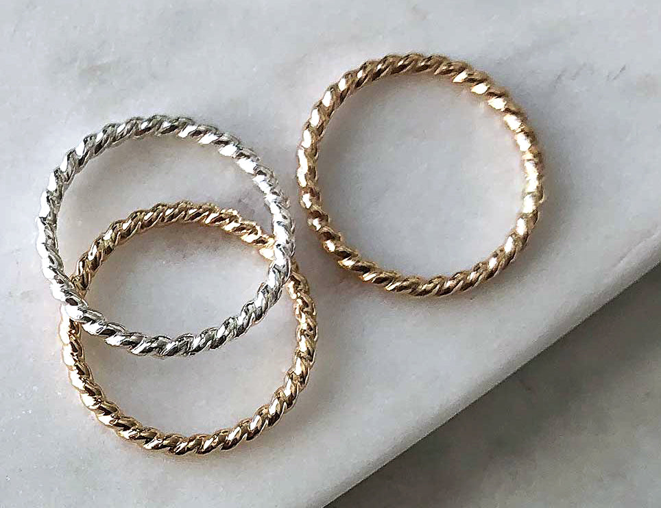 Strut Jewelry 14K Gold-Filled Twist Single Stacking Rings
