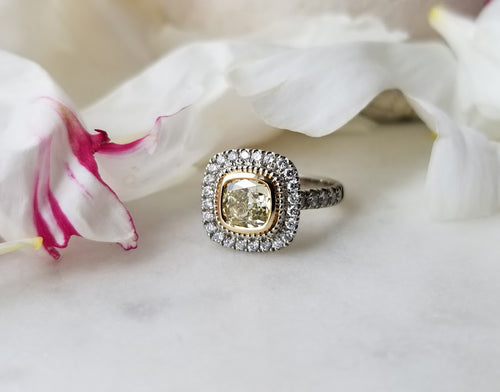 Modern Vintage Concept Natural Yellow Diamond Ring