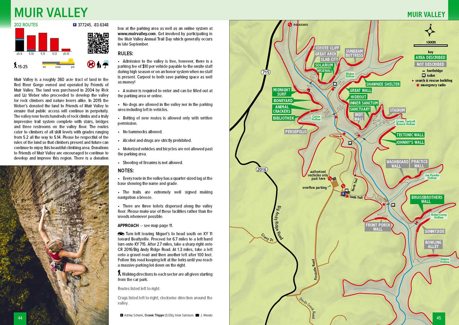 Red River Gorge Topographic Map.Best Of The Red Sport Climbing Crags Of The Red River Gorge Kentucky