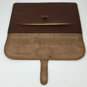 Ipad holder in chestnut brown style II (handmade, leather) - OPEN