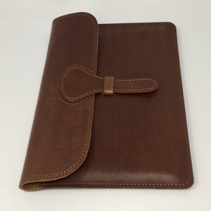 Ipad holder in chestnut brown style II (handmade, leather) - FLAT