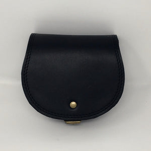 Mini cross-body in smooth black (handmade, leather) - FRONT