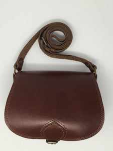 Mahogany small cross-body (handmade, leather) - FRONT WITH STRAP