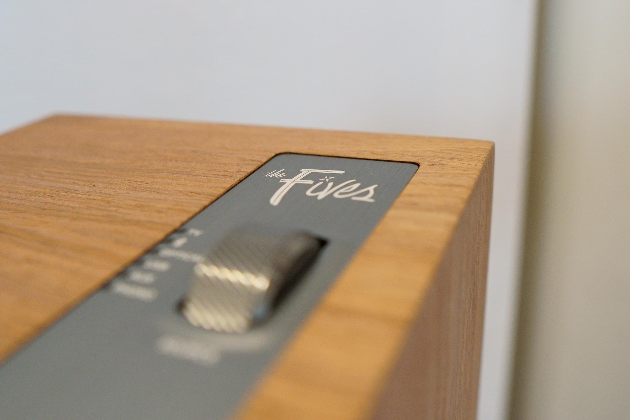 Klipsch The Fives logo on top of the primary speaker