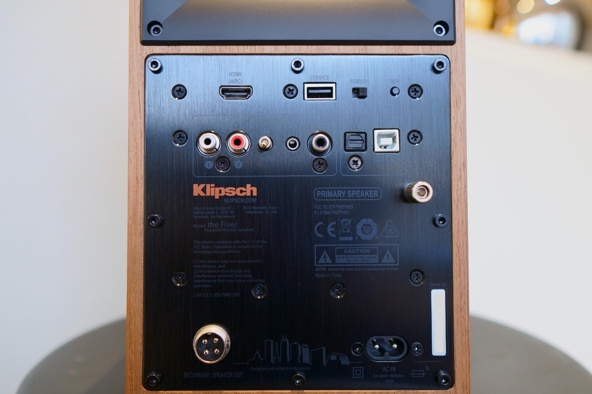 Back panel of Klipsch The Fives showcasing all input connectivity options.