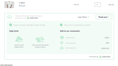 Climate Friendly Cart Shopify