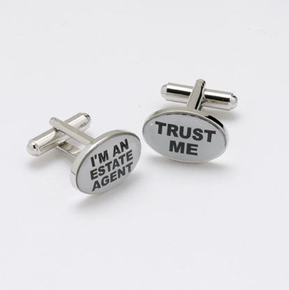 Novelty Cufflinks - Trust Me, I'm An Estate Agent - CK50 - Onyx Art