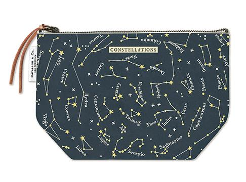 Cavallini - 100% Natural Cotton Vintage Pouch Bag - 15x22cms - Celestial/Constellations