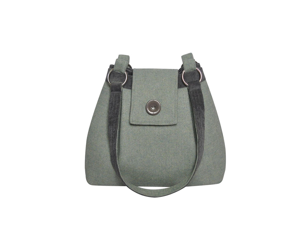 Earth Squared - Bunting Ava Bag - Shoulder Bag - Herringbone Wool - Pale Green - 34x26x10cms
