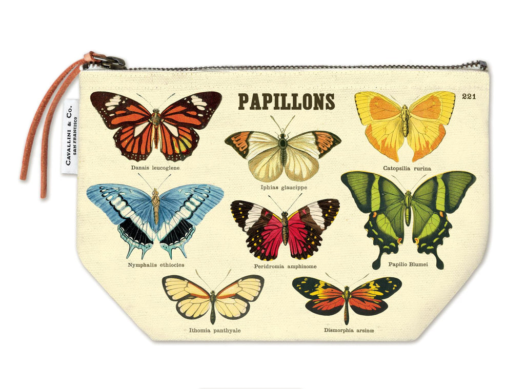 Cavallini - 100% Natural Cotton Vintage Pouch Bag - 15x22cms - Papillions/Butterflies