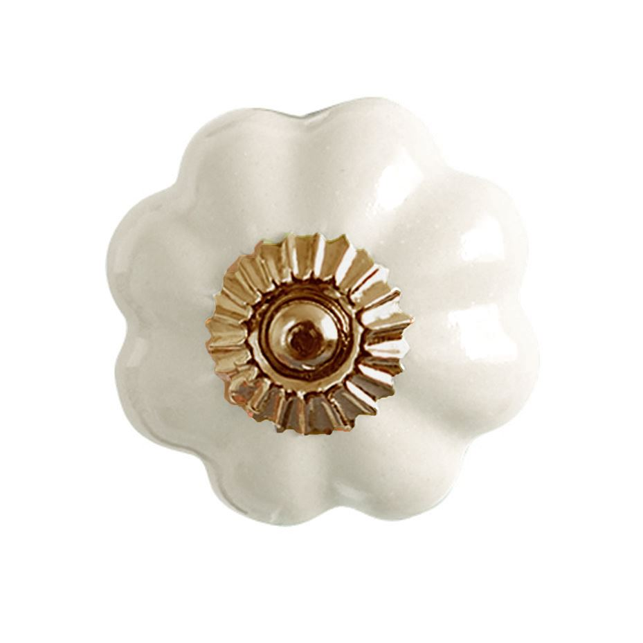 Bombay Duck - Plain Flower Ceramic Cupboard/Drawer Door Knob - Cream