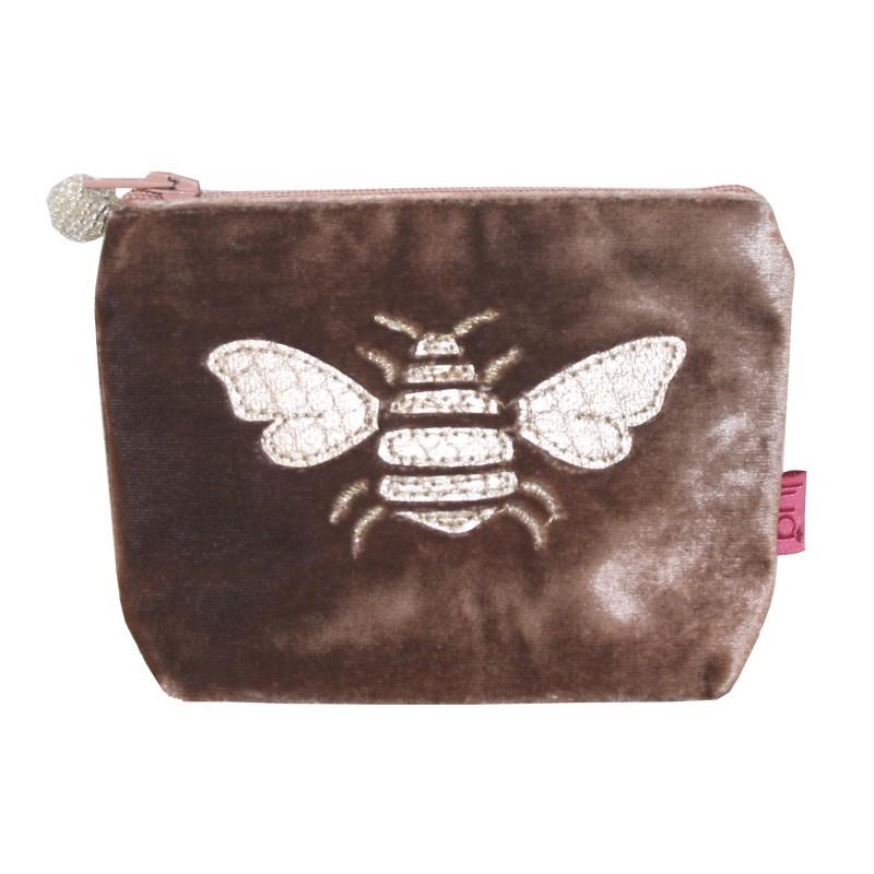 Lua - Velvet Mini Coin Purse With Appliqued Bee 9 x 11cms - 4 Colour Options