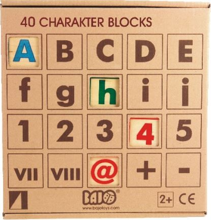 40 Alphabet, Number & Symbol Building Blocks - Wooden Toys by Bajo