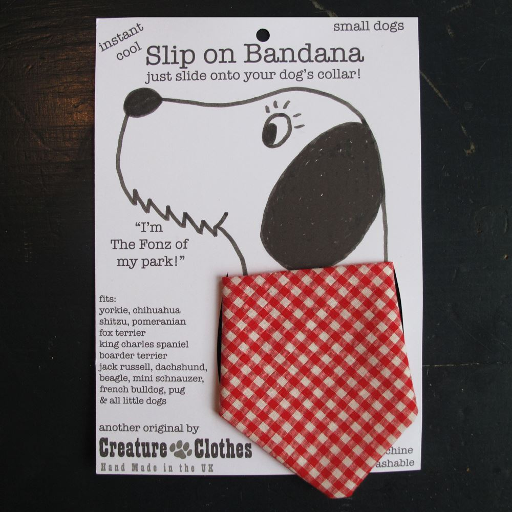 Creature Clothes - Slip on Bandana - Red Gingham - Available in 2 Sizes - Handmade in the UK