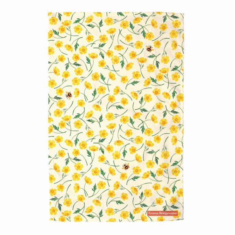 Emma Bridgewater - 100% Cotton - Tea Towel 48 x 70cms - Buttercups & Bumblebees