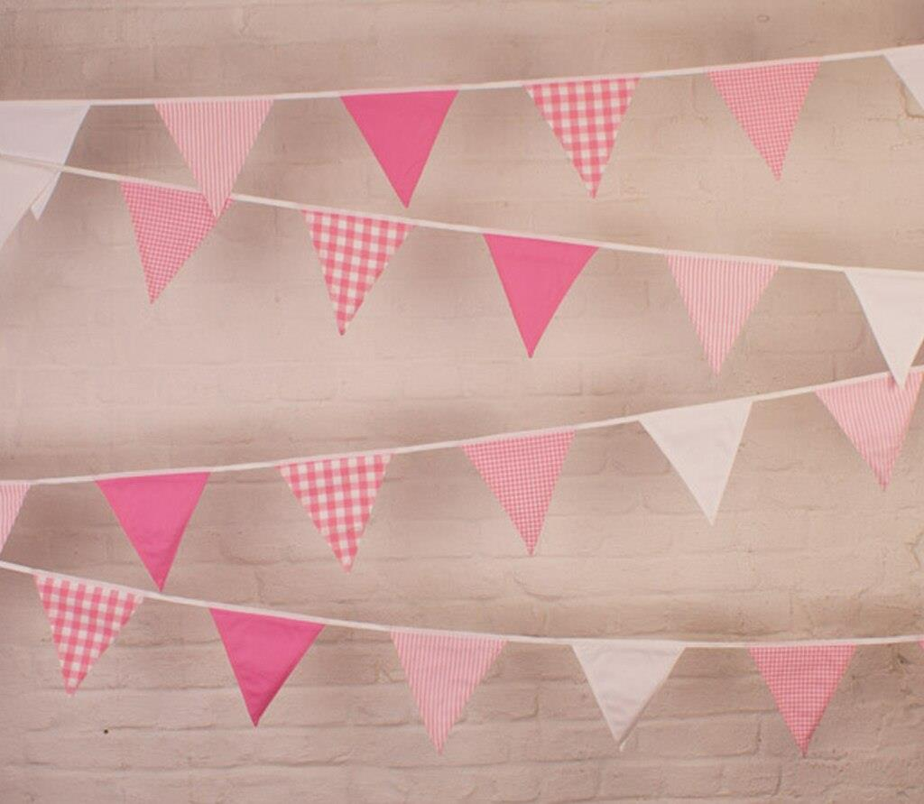 100% Cotton Bunting - Shades of Pink - 10m/33 Double Sided Flags