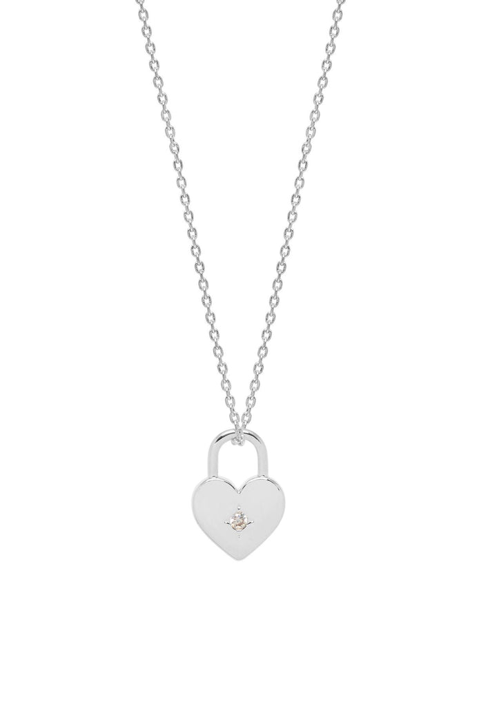 Heart Padlock Necklace - Silver Plated - All You Need Is Love - Estella Bartlett