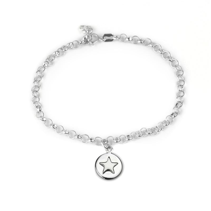 Sterling Silver - Good Luck Circle Bracelet - Silver Star - Tales From The Earth